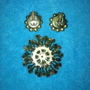 Jewelry - Vintage earrings and brooch
